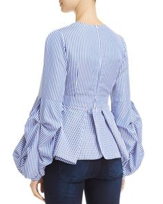 Alpha and Omega Striped Bell-Sleeve Top Denim Fashion, Cute Fashion, Look Fashion, Hijab Fashion, Fashion Outfits, Fashion News, Blouse Styles, Blouse Designs, Moda Chic