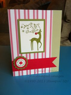 """funkyj creations - Stampin' Up!, Dasher & Delightful Decorations Stamp Sets; Dashing DSP; River Rock, Old Olive, Real Red, & Very Vanilla cardstock; Real Red Textured cardstock; Old Olive Ink/Marker, Real Red Marker; 1-1/4"""" Scallop Circle Punch, 1"""" Circle Punch, 3/4"""" Circle Punch, Envelope Punch Board; Real Red Brad, Stampin' Dimensionals; Christmas card, reindeer, Merry Christmas, holiday, stripes"""