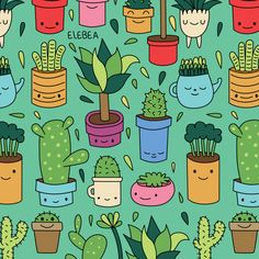 Shop elebea's store featuring unique designs on various products across art prints, tech accessories, apparels, and home decor goods. Cactus Illustration, Pattern Illustration, Cactus Decor, Cactus Art, Vintage Stickers, Textures Patterns, Print Patterns, Cactus Drawing, Cactus Y Suculentas