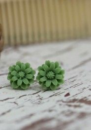 Green flower earings