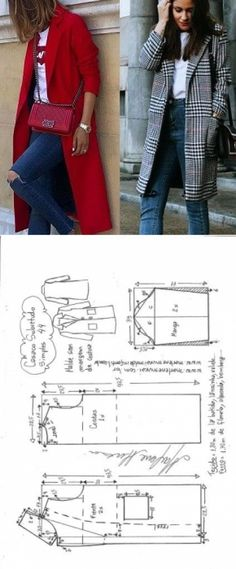 Ideas For Sewing Women Clothes Costura Coat Patterns, Dress Sewing Patterns, Sewing Patterns Free, Clothing Patterns, Blouse Patterns, Skirt Patterns, Coat Pattern Sewing, Sewing Clothes Women, Diy Clothes