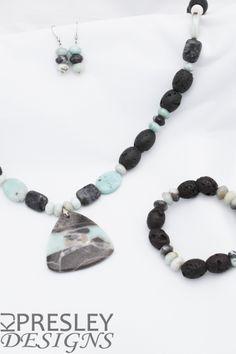 Lava Stone & Blue Amazonite Pyrite Jewelry Set by KJPresley Designs  http://www.kjpresleydesigns.com/  #jewelry #necklace #bracelet #earrings @KJPresleyDesgns