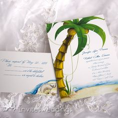 Wedding Invitations Online Beach Themed Green Tree Wedding Invitation - A lot of romantic love stories took place on the beach, you can have fun with each other by enjoying shades of the lovely trees or picking up beautiful shells. Beach Theme Wedding Invitations, Affordable Wedding Invitations, Beach Wedding Decorations, Cheap Beach Wedding, Trendy Wedding, Beach Wedding Inspiration, Wedding Ideas, Party Wedding, Wedding Cake