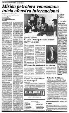 Publicado el día 19 de febrero de 1983 bajo el título: Misión petrolera venezolana inicia ofensiva internacional.