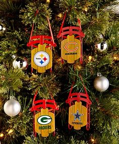Deck the halls - and your Christmas tree! Celebrate the holiday season and your favorite NFL team with these NFL ornaments. From the Packers to the Steelers and beyond, get into the football spirit!