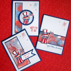 I've been working on some last minute holiday cards to celebrate   the U.S. Independence day.     I see that watercolor backgrounds are al...