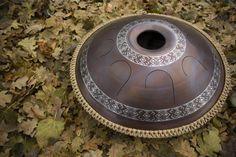 "GUDA drum ""Ukrainian"" with rope decoration, Handpan, Steel Tongue Drum, hand made music instrument for meditation, Unique idiophone"