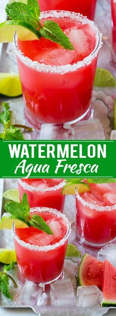 Watermelon Agua Fresca - Dinner at the Zoo Fresca Drinks, Fruit Drinks, Smoothie Drinks, Non Alcoholic Drinks, Healthy Drinks, Smoothie Recipes, Smoothies, Cocktails, Beverages