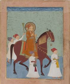 Ceremonial Horseback Portrait of Prince Lakhpatji of Kutch with Four Attendants. Kutch or Nagaur, c.1750. Opaque watercolour heightened with gold on paper. Image : 12.5 x 9.5 in (31.8 x 24.1 cm