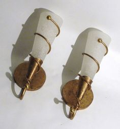 PAIR HOLLYWOOD REGENCY GOLD WASH VINE FORM WITH GLASS FLUTE SCONCES