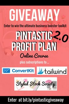 GIVEAWAY! Win a scholarship Pintastic Profit Plan 2.0 Online Course, which re-launches this October.  PLUS, you get 1 year of Tailwind, 6 months of ConvertKit, and 2 month subscription to the Wonderfelle Styled Stock Society. Enter here >>https://gleam.io/mu6PT/the-pintastic-business-booster-giveaway
