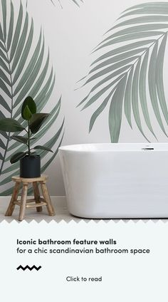 Creating a Scandinavian feature wall is a great way to elevate a Nordic inspired interior in any space of the home, but installing a unique feature wallpaper in your bathroom is the perfect way of add Scandinavian Wallpaper, Scandinavian Bathroom, Scandinavian Interior Design, Home Interior Design, Scandi Wallpaper, Scandinavian Garden, Scandinavian Style, Wallpaper Toilet, Palm Wallpaper