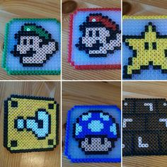 Luigi, mario, power star, question block mushroom, brickbox costers perler