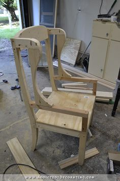 DIY wingback dining chair - how to build a frame for an upholstered chair - 18 Diy Furniture Chair, Diy Sofa, Diy Pallet Furniture, Diy Chair, Upholstered Furniture, Chair Upholstery, Furniture Outlet, Chair Cushions, Discount Furniture