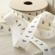 Cream Ribbon with Grey Hearts