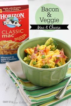 Bacon & Veggie Mac & Cheese - A quick and easy dinner recipe| Diary of a Recipe Collector