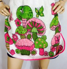 Vintage Apron 70's Terry Cloth Kitchen Apron Hot Pink & Lime Mushrooms and Butterflies Flower Power Fashion Kitsch Psychedelic by OffbeatAvenue on Etsy