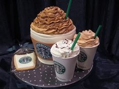 Starbucks cake- I got to remember this. I probably won't use coffee cups, but I'll think of something cool. Starbucks cake- I got to remember this. I probably won't use coffee cups, but I'll think of something cool. Starbucks c Crazy Cakes, Fancy Cakes, Cute Cakes, Menu Secreto Starbucks, Starbucks Secret Menu Items, Starbucks Birthday, Macaron, Creative Cakes, Let Them Eat Cake