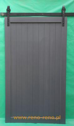Drzwi przesuwne, styl skandynawski, szary kolor. Pracownia Reno.