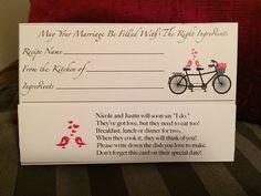 Recipe card for bridal shower! Cute poem!