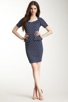 Short Sleeve Peplum Dress. Polka dots!