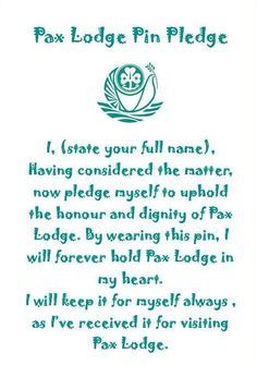 Pax Lodge Pin Pledge - you can only receive the pin after visiting the World Centre - Wish we had that pledge when I was there! (I still have all three of my pins) Quick Crafts, Crafts For Kids, Gs World, D Craft, Craft Ideas, Thinking Day, Girl Guides, Girl Scouts, Elementary Schools