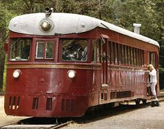 The Skunk Train travels between Fort Bragg on the coast and Willits inland, passing through land owned by logging companies that is otherwise inaccessible. The engine shown here is a rare Motorcar, the only one of its kind still working. It's used on less-busy days.