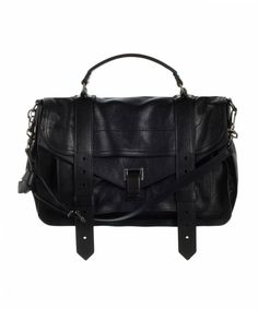 PS1 MEDIUM LEATHER  Leather flap front bag with metal tab closure, leather straps, handle and removable and adjustable shoulder strap. Logo jacquard interior lining. One interior compartment with leather trimmed inner zip pocket. Front compartment with zip pocket and snap closure. Made in Italy.    BLACK    $1,695.00