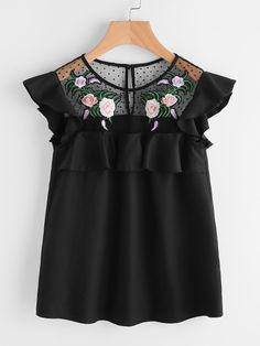 SheIn offers Flower Patched Dot Mesh Yoke Frill Cap Sleeve Top & more to fit your fashionable needs. Dressy Casual Outfits, Casual Day Dresses, Dresses For Teens, Casual Tops For Women, Trendy Tops, Cute Girl Dresses, Girl Outfits, Make Me Chic, T Shirt Crop Top