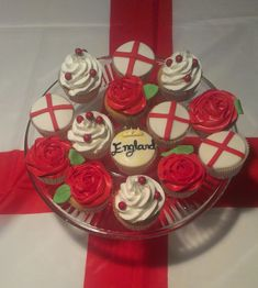 Happy St. George's Day!    St.George's Day Cupcakes from Zaubercakes near Dunedin, Florida    England flag, roses