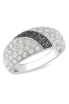1 ct White & Black Diamond Style Ring In Silver