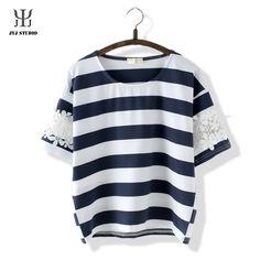 Aliexpress.com: Acheter Été institut vent mignon chemise pour femmes à manches courtes o   cou coton bleu blanc Stripes décoration Blouses dentelle fleur t shirt de fleur fiable fournisseurs sur JYJ STUDIO