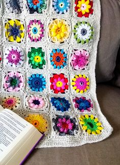 Crochet Flower Blanket Throw floral Nature Hippie Afghan