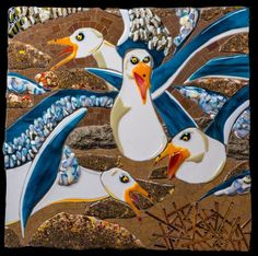 A Squabble of Seagulls Mosaic Art, Fused Glass, Glass Art, Birds, Outdoor Decor, Home Decor, Bird, Interior Design, Home Interior Design