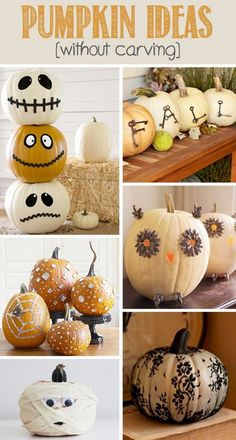 WHY ruin a pumpkin? So many cool pumpkin ideas without carving to spruce up your home and yard; everything from painting to accessorizing. Here are 8 easy no-carve pumpkin ideas for this fall season. Holidays Halloween, Halloween Treats, Halloween Pumpkins, Happy Halloween, Halloween Decorations, Pumpkin Decorations, Halloween Banner, Halloween Halloween, Fall Crafts