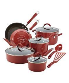 Look what I found on #zulily! Cranberry Red Porcelain 12-Piece Cookware Set by Rachael Ray #zulilyfinds