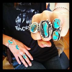 Arizona Turquoise and Silver Rings handcrafted by Leslie Crow