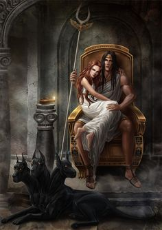 Hades and Persephone. Interesting perspective from the artist because it makes Persephone appear as though she actually loves Hades.