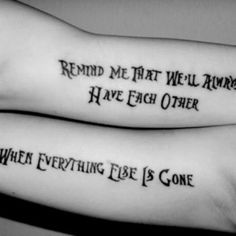 Brother and Sister Matching Lettering Tattoo Idea