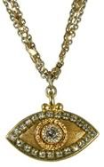 Keeps the haters away... Michal Golan Crystal and Gold Evil Eye Pendant Necklace