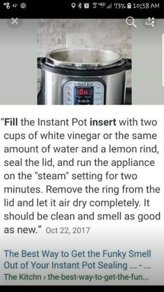 Instant Pot—Cleaning and Removing Ring Smells; this one includes using a bit of lemon rind Power Pressure Cooker, Instant Pot Pressure Cooker, Pressure Cooker Recipes, Pressure Cooking, Instant Cooker, Cooking Tips, Cooking Recipes, Cooking Games, Pie Recipes