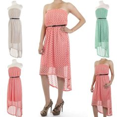 ebclo - Lace Overlay High-Low Dress  $28.00 Free Domestic Shipping