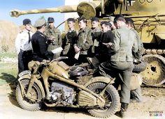 Zundapp ks750 motorcycle beside a German Tiger tank.