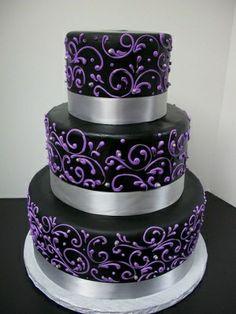 Black with Purple Scrollwork Wedding Cake
