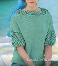 Свободный пуловер с шишечками раздел спицами вязаные кофты спицами со схемами