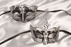 His n Hers Luxury Masquerade Masks with Gems - SILVER