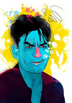 Charlie Sheen by Alvaro Tapia Hidalgo Illustrations, Illustration Art, Charlie Sheen, 2d Art, Colorful Wallpaper, Caricature, Painting & Drawing, Drawings, Fictional Characters