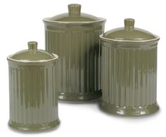 Simsbury Ceramic Canister Set of 3 in Olive by Omni Housewares #OmniHoussewares