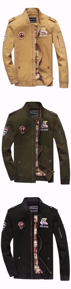 Ribbded Appliques Epaulet Zip Up Bomber Jacket