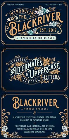 BLACKRIVER FONT + ORNAMENTS. A vintage inspired font. Perfect for vintage logo design, product packaging. ad. affiliate.